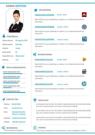 Curriculum vitae met logo's van jouw opleidingen en ex werkgevers
