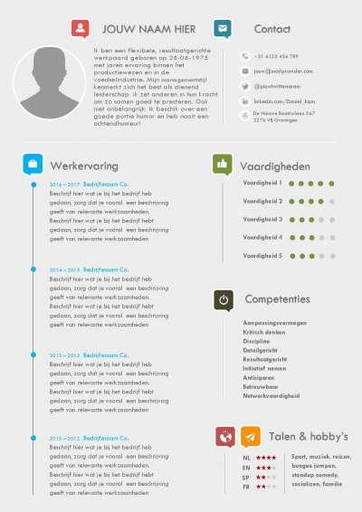 Verras de werkgever met dit moderne CV in kleur en stijl