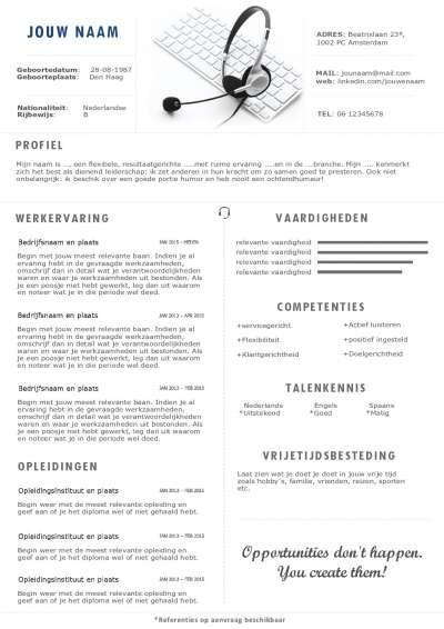 Het CV en sollicitatiebrief voor o.a callcenter medewerkers en receptionistes
