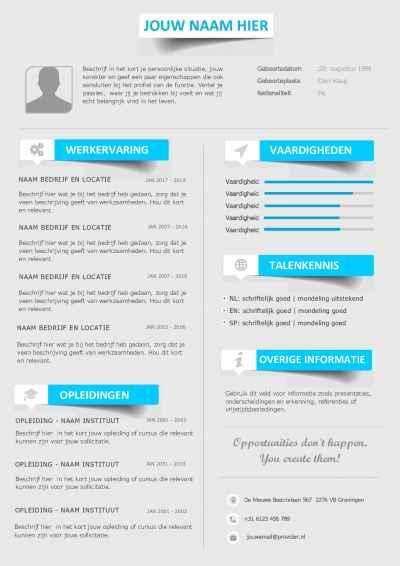 CV sjabloon + gratis sollicitatiebrief template