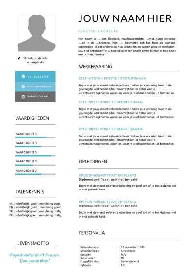 CV template met passend sollicitatiebrief in Word