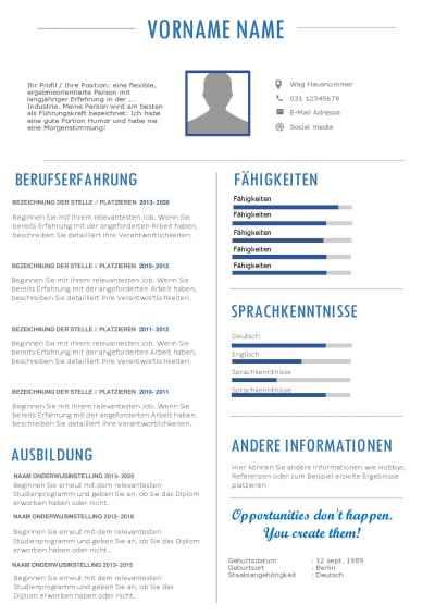 Duits en Nederlands CV template voorbeeld